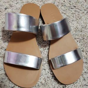 Jcrew silver slide sandals